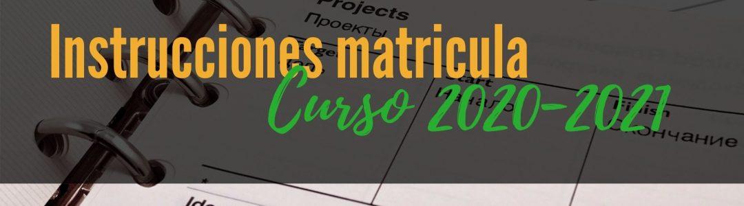 Instrucciones matricula curso 2021-2022